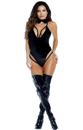 Nightlight Siyah Britli Kadife Fantazi Bodysuit