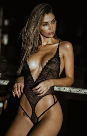 Nightlight Siyah Dantelli Fantazi Bodysuit
